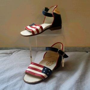 Vintage Italian Leather Baby Sandal USA Flag